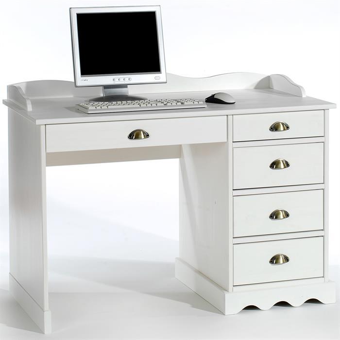 Schreibtisch COLETTE mit Aufsatz in weiß