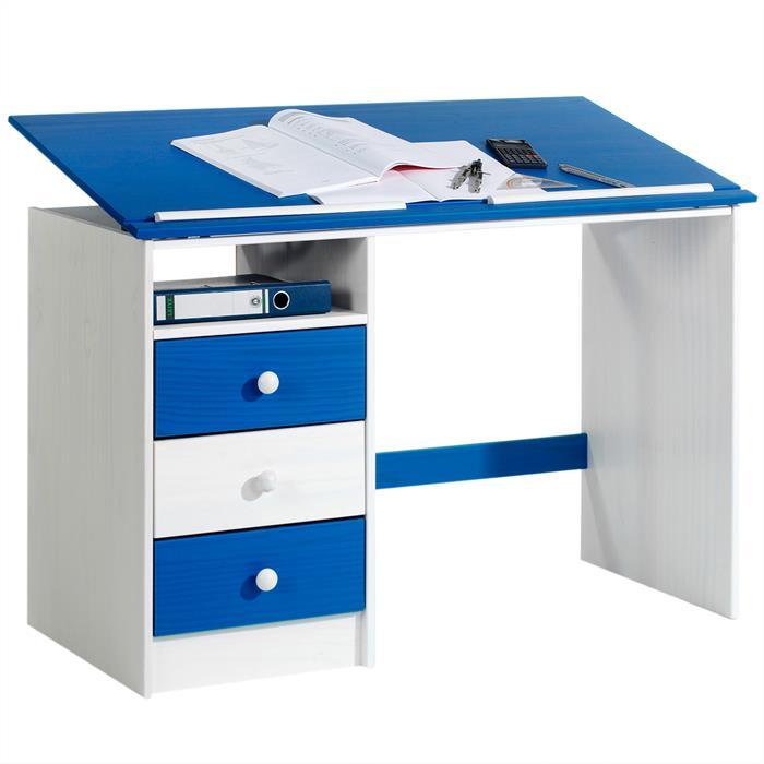 Kinderschreibtisch KEVIN in weiß/blau