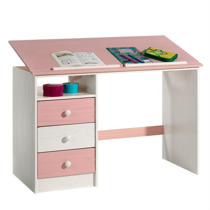 Kinderschreibtisch KEVIN in weiß/rosa