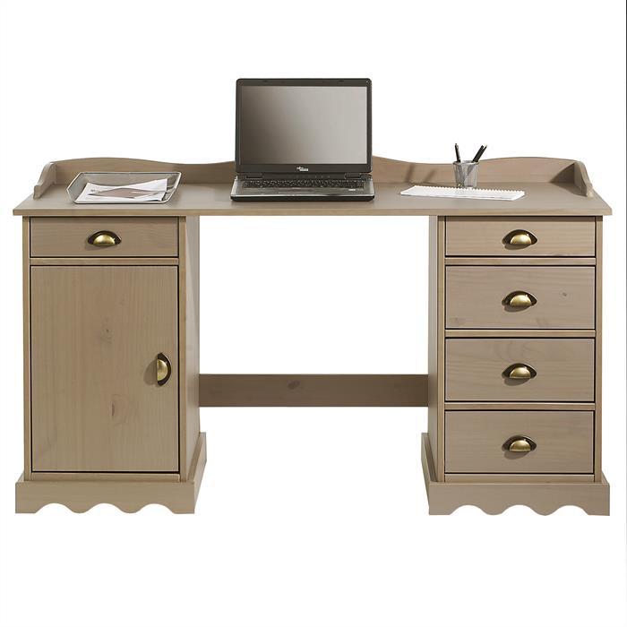 Schreibtisch mit Aufsatz SANDRINE in taupe