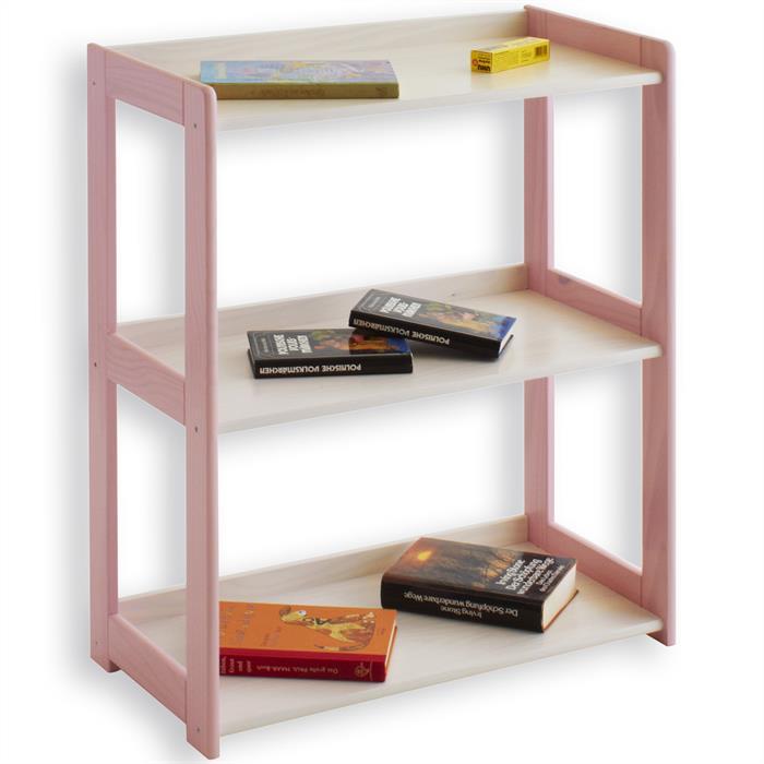 Leiterregal PORTO mit 3 Böden in weiß-rosa