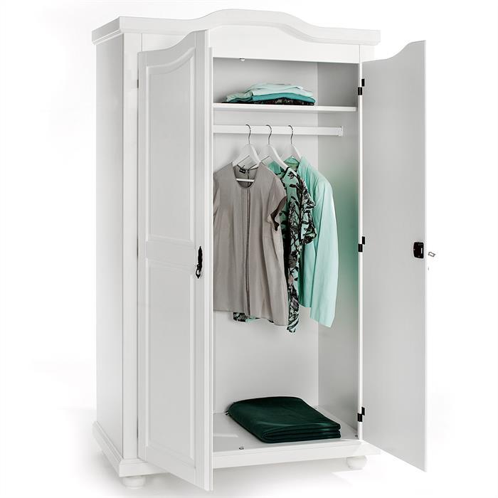 Garderobenschrank Dielenschrank mit 2 Türen, Kiefer weiß