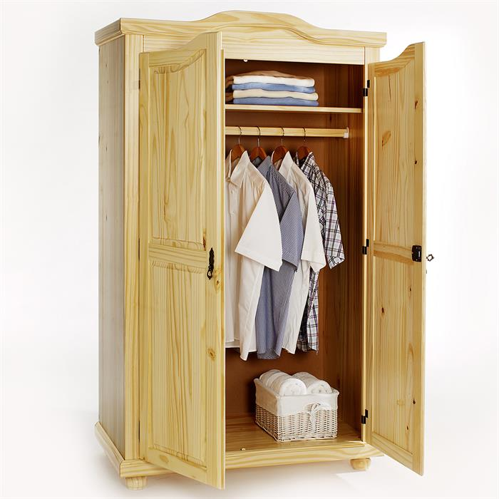 Garderobenschrank Dielenschrank MÜNCHEN mit 2 Türen, Kiefer natur