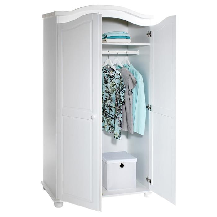 Garderobenschrank Dielenschrank DAVOS mit 2 Türen, Kiefer weiß