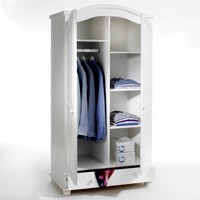 Garderobenschrank Dielenschrank BERGEN mit 2 Türen, Kiefer weiß