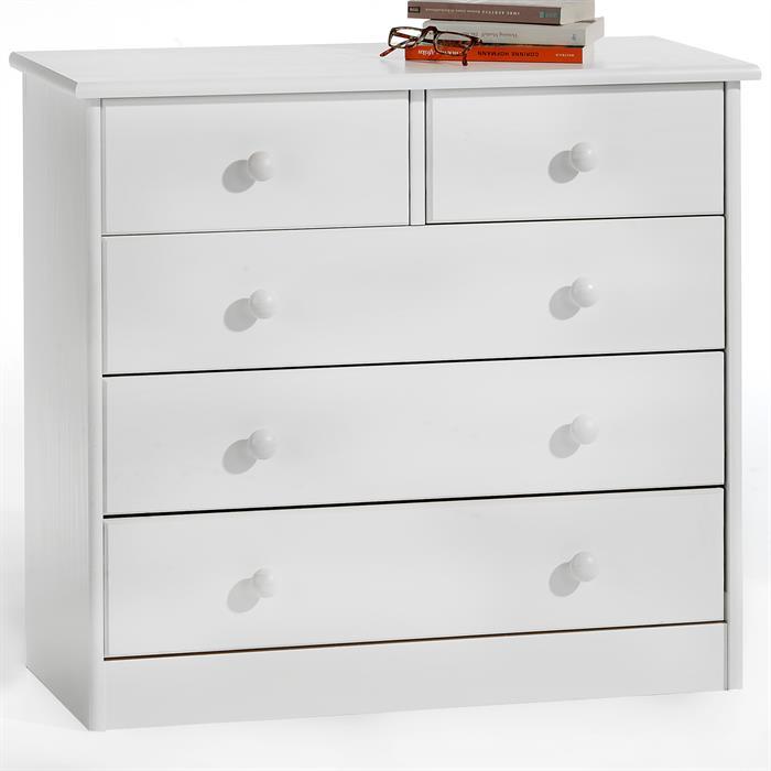 Kommode RONDO mit 5 Schubladen weiß