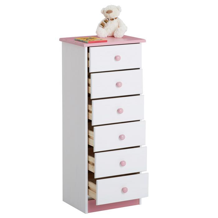 Kommode RONDO 6 Schubladen weiß-rosa