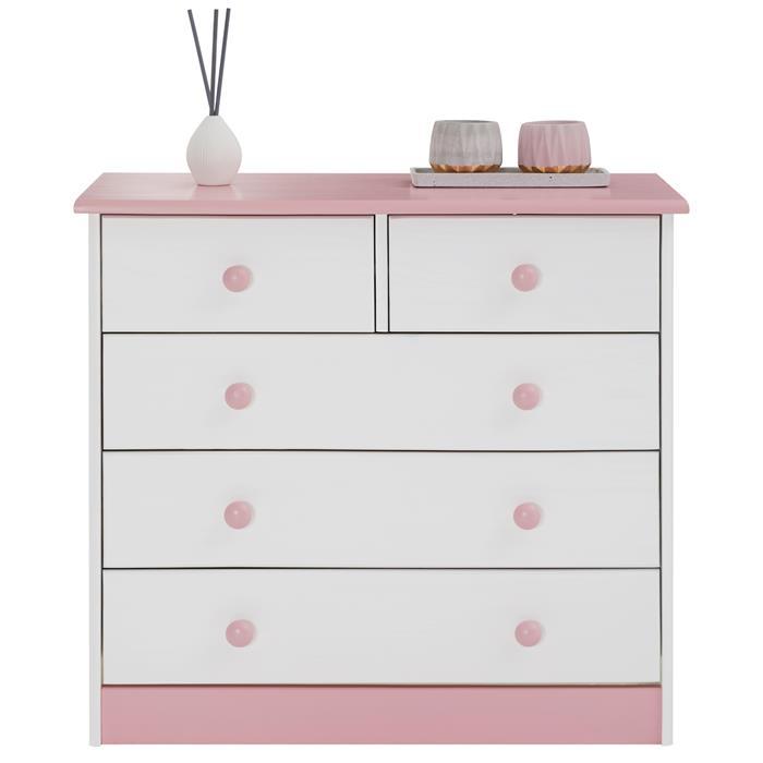 Kommode RONDO mit 3 + 2 Schubladen, weiß-rosa