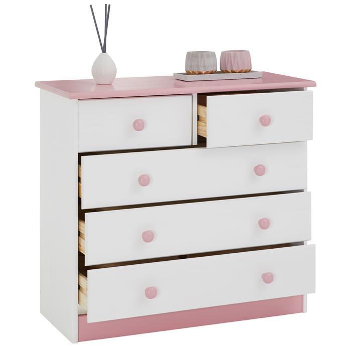 Kommode RONDO mit 5 Schubladen, weiß-rosa