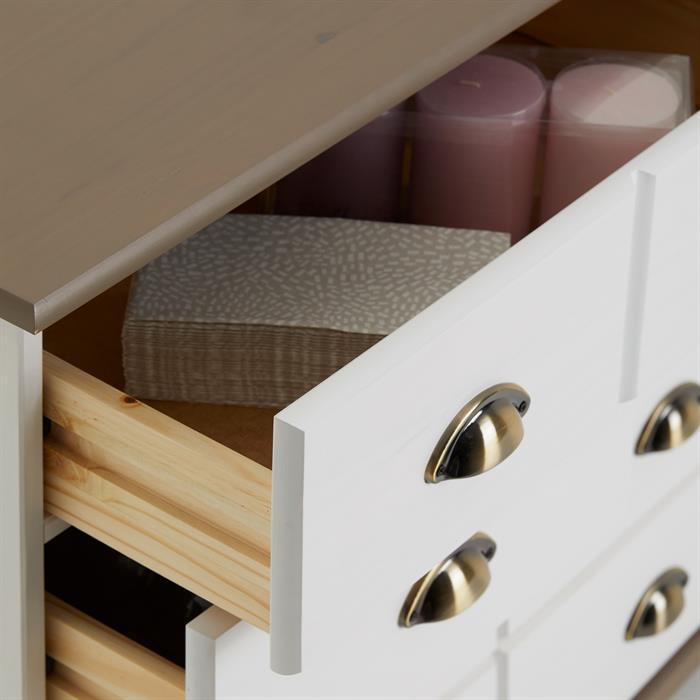 Apothekerkommode COLMAR mit 11 Schubladen, weiß/taupe