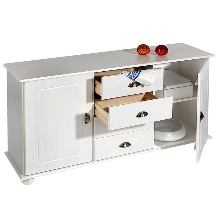 Apothekerkommode COLMAR 2 Türen und 4 Schubkasten, weiß