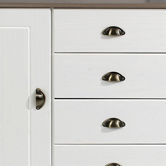 Apothekerkommode COLMAR 2 Türen und 4 Schubkasten weiß/taupe