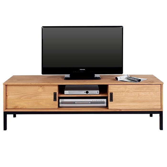 TV Lowboard SELMA mit 2 Schiebetüren, gebeizt/gewachst