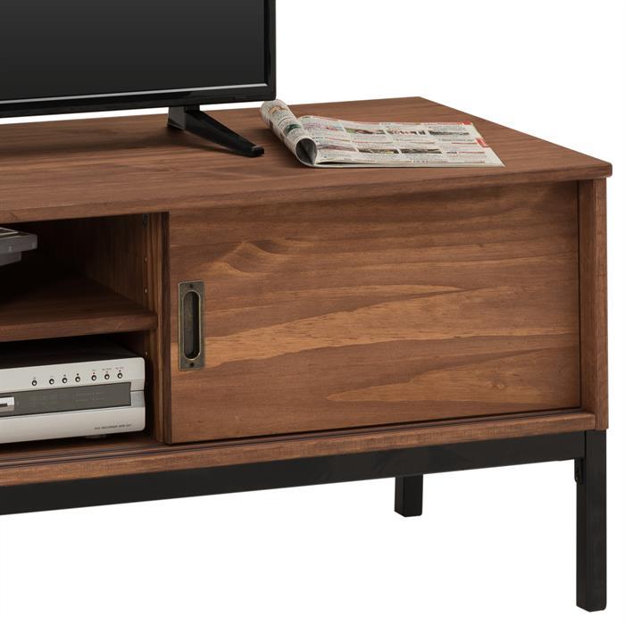 TV Lowboard SELMA mit 2 Schiebetüren, braun gebeizt