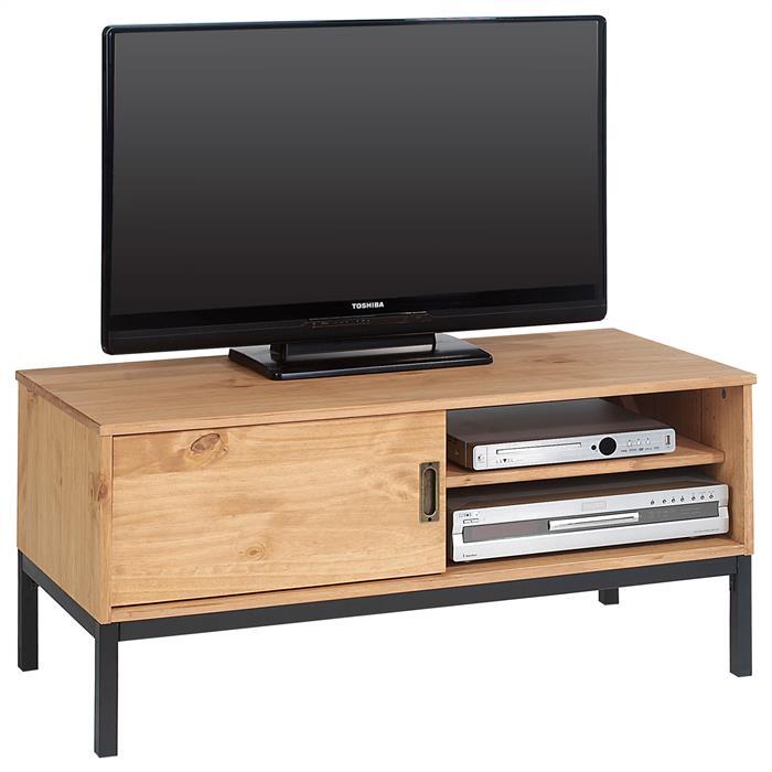 TV Lowboard SELMA mit 1 Schiebetür, gebeizt/gewachst