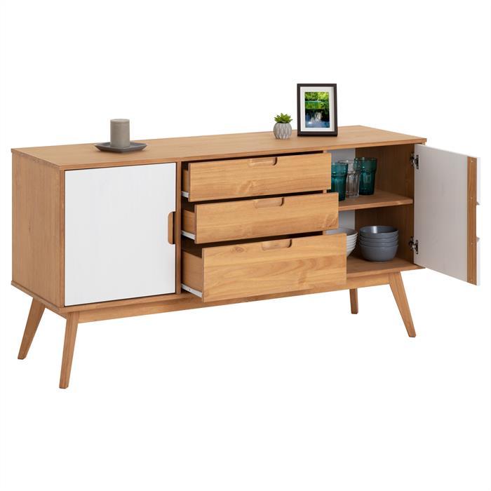 Anrichte TIVOLI 2 Türen 3 Schubladen skandinavisches Design, gebeizt/weiß