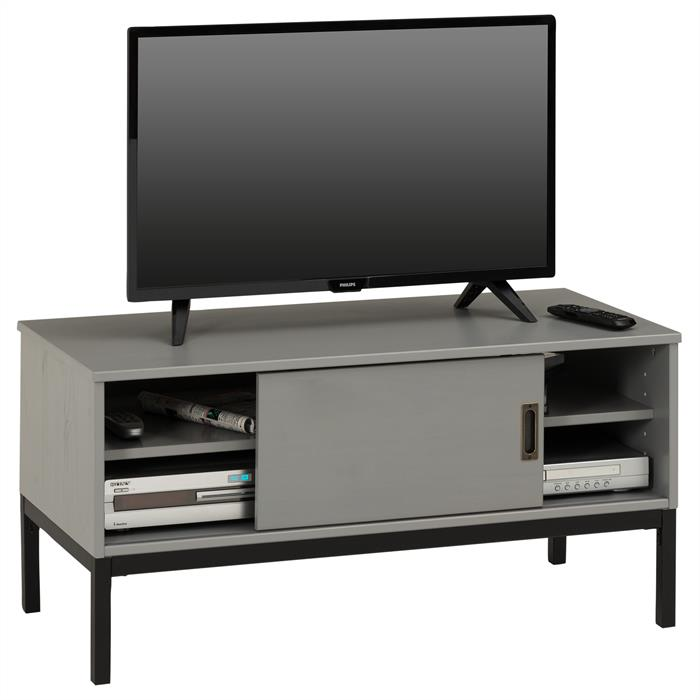 TV Lowboard SELMA mit 1 Schiebetür, grau