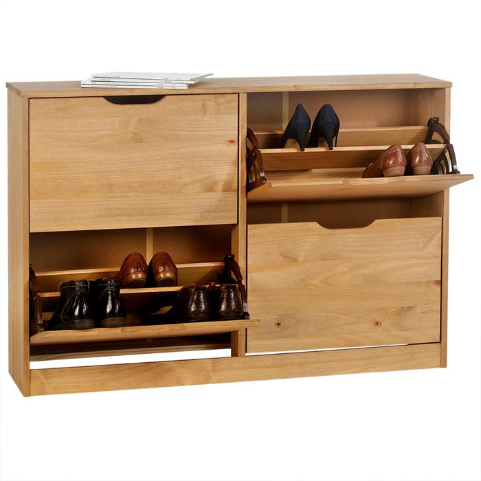 Schuhschrank BASIL in honigfarben, 2x2 Kipper
