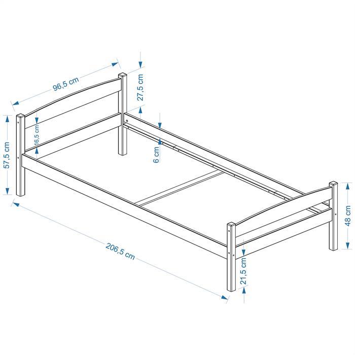 Einzelbett BORIS 90 x 200 cm, buchefarben