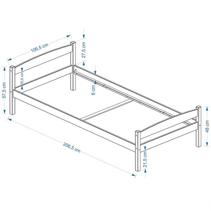 Einzelbett BORIS 100 x 200 cm, buchefarben