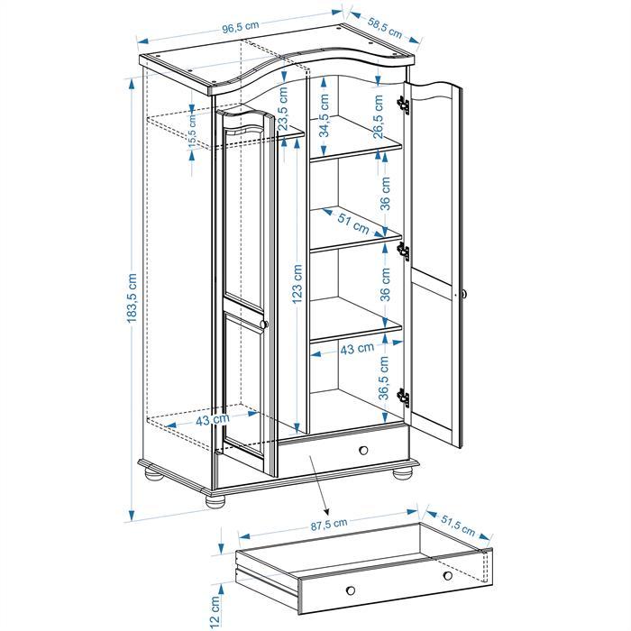 Garderobenschrank Dielenschrank BERGEN mit 2 Türen, Kiefer natur