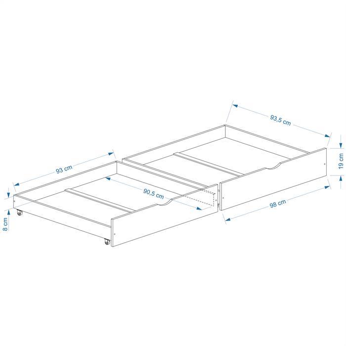 Rollauszugsset FELIX, weiss, 97 cm breit