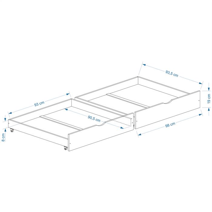Rollauszugsset FELIX, natur, 97 cm breit