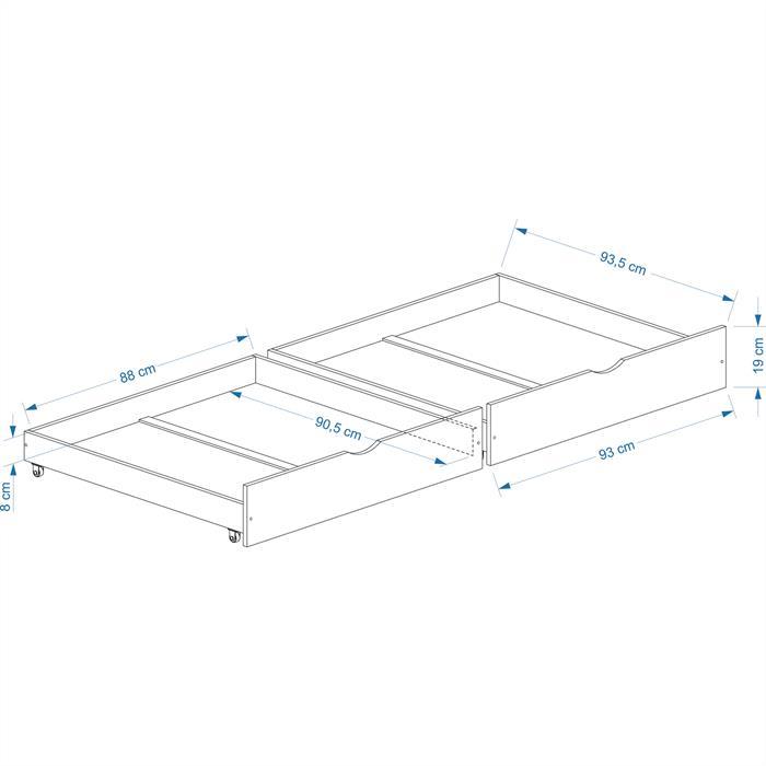 Rollauszugsset Felix-2, weiss, 92 cm breit