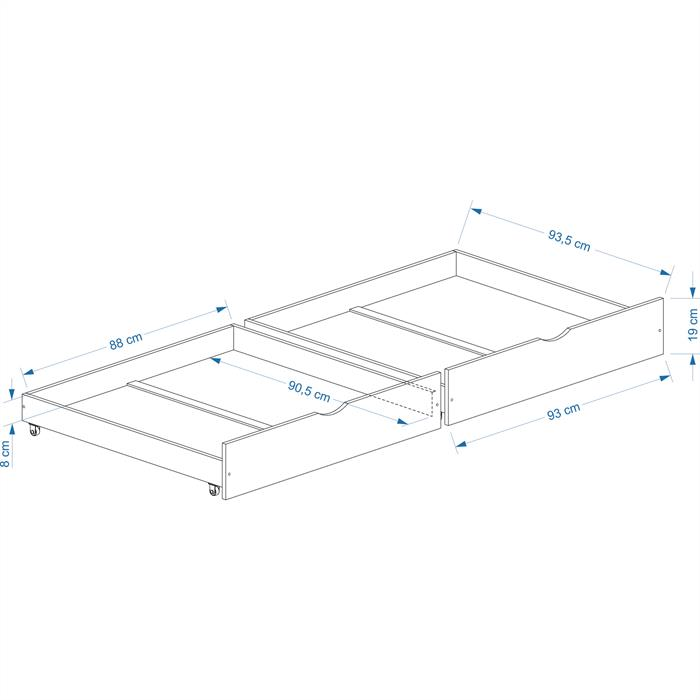 Rollauszugsset FELIX-2, natur, 92 cm