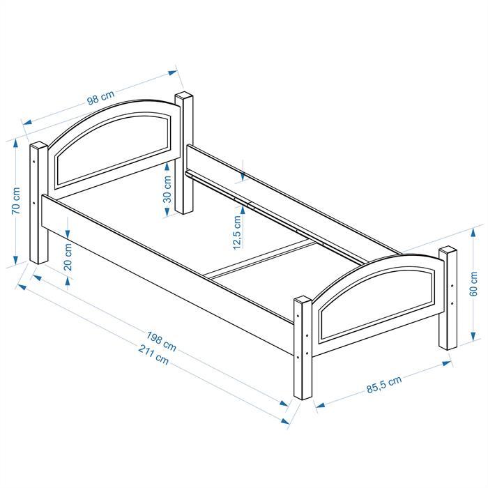 Holzbett FLIMS in buchefarben, 90 x 200 cm