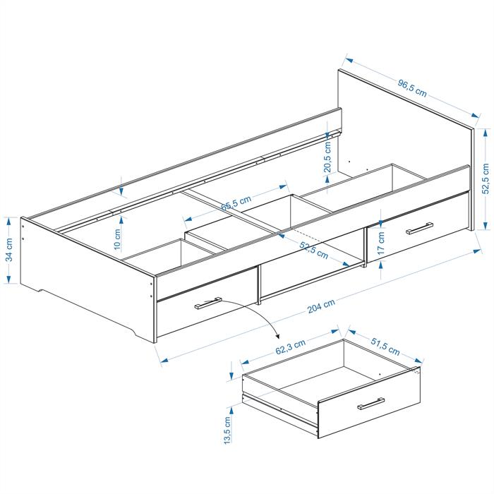 Einzelbett KAI, buchefarben, 90 x 200 cm