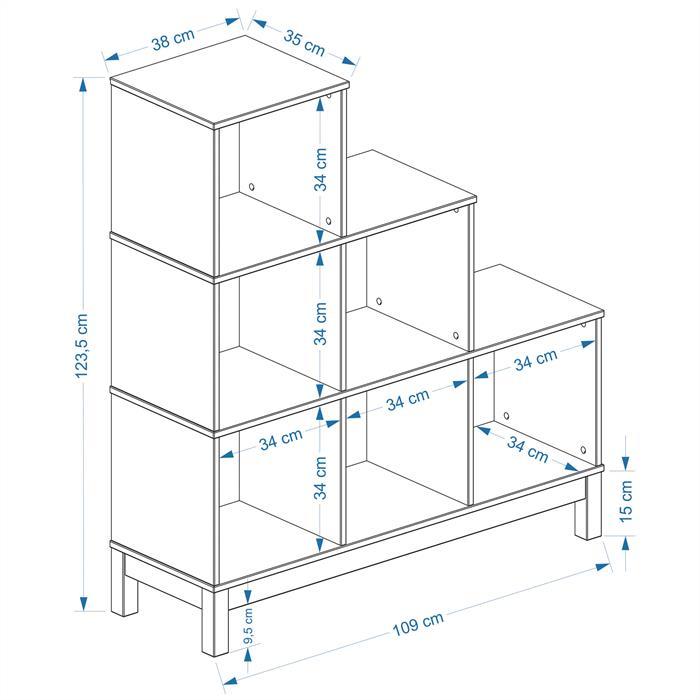Stufenregal Treppe LOGO mit 6 Fächer, Kiefer weiß