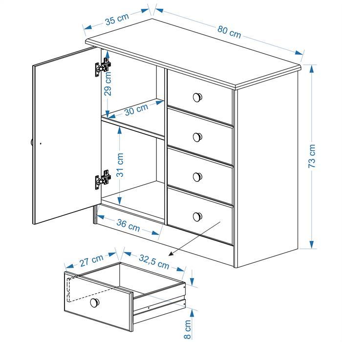 Kommode RONDO 1 Tür + 4 Schubladen weiß