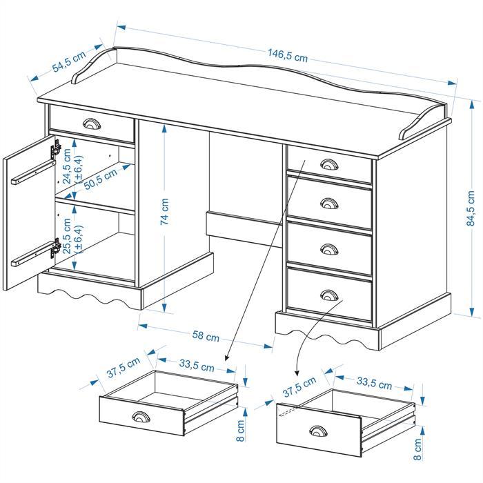 Schreibtisch mit Aufsatz SANDRINE in weiss