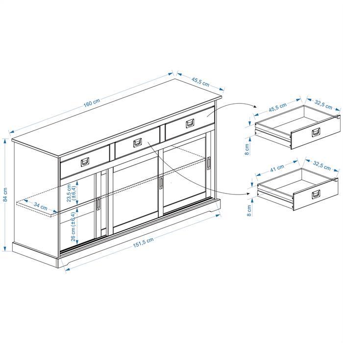 Anrichte Sideboard SAVONA 3 Türen braun