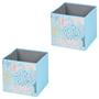 Stoffbox FLOWER MORNING-2 faltbar im 2er Pack hellblau
