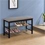 Sitzbank SANA mit Schuhregal, schwarz/grau mit 2 Böden