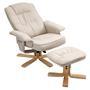 Relaxsessel CHARLY mit Hocker und Stoffbezug in beige