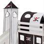 Turm MAX zu Bett mit Rutsche, schwarz/weiss