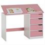 Kinderschreibtisch EMMA, Kiefer massiv weiß/rosa, neigungsverstellbar