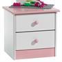 Nachtkommode RONDO weiß-rosa lackiert